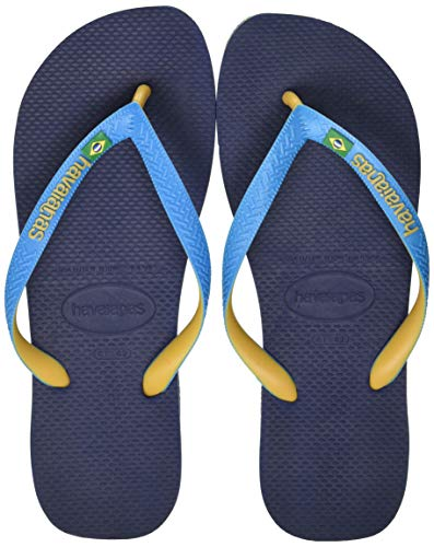 Havaianas Brasil Mix, Flip-Flop Unisex-Adulto, Navu Blue Turquoise Burned Yellow, 45/46