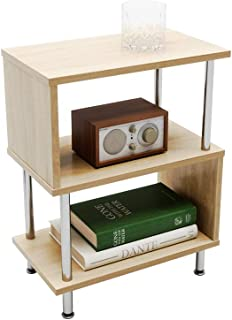 Bestier Side Table 3 Tier S-Shaped, Small Nightstand Bedside Table End Table with Storage Shelves for Bedroom, Sofa Table ...