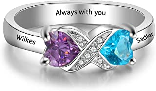 Personalized Sterling Silver Infinity Mothers Ring with 2 Heart Simulated Birthstones Engagement Promise Rings for Women
