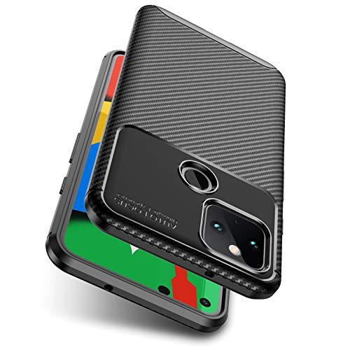 AINOYA Kompatibel mit Google Pixel 5 Hülle,Robuste TPU Silikon Schwarz Schutzhülle Stylisch Karbon Design Handyhülle Case, stoßfeste Schutzhülle Case