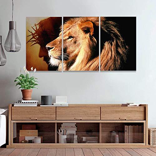 Quadro Leão de Juda Decorativo Parede Sala 120x60 Cm Jesus Cristo Mosaico Quarto