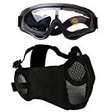 Fansport Mesh Mesh Mask Máscara Ajustable Máscara Ajustable Máscara Ajustable Airsoft con Gafas de Seguridad