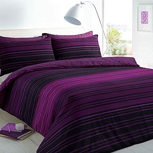 Sleepdown Juego de Funda de edredón y Funda de Almohada, diseño de Rayas, Color Morado