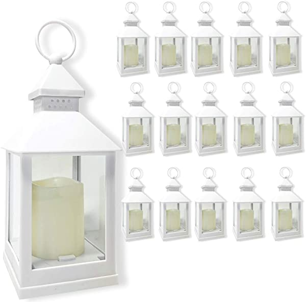 BANBERRY DESIGNS Decorative Lanterns Set Set Of 16 5 Hour Timer 9 3 8 H White LED Lanterns With Flameless Pillar Candles Included Indoor Outdoor Lantern Set Hanging Or Sitting Decoration