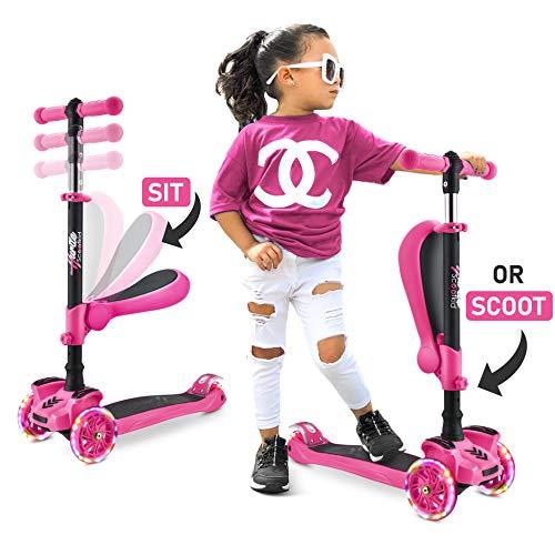 Hurtle 3-Wheeled Scooter for Kids - Wheel LED Lights, Adjustable...