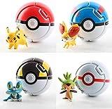 4Pcs Pokemon Pikachu Characters - Poké Ball Toy Pokemon Doll Model Accessories - Poké Ball Action Figure Toy