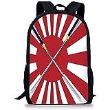 Hui-Shop Mochilas Escolares japonesas, Bandera Japonesa Inspirada en el Sol Naciente Diseño de Dos largas y simbólicas Espadas guerreras Nacionales, Rojo Blanco para niños niñas