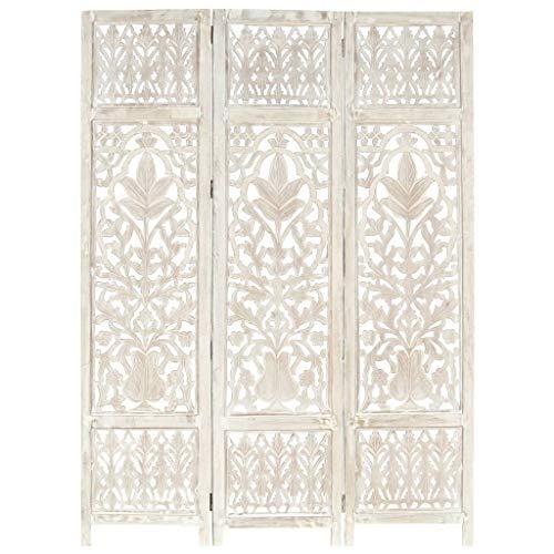FAMIROSA Biombo 3 Paneles Tallado a Mano Madera Mango Blanco 120x165 cm (15,32kg) Blanco