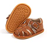 HULYKA Infant Baby Boys Girls Summer Sandals Closed-Toe Non Slip Beach Sandals Toddler First Walker Crib Shoes(6-12 Months Infant,B-brown)