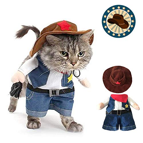 Funny Dog Cat Cowboy Costumes, Pet Halloween Christmas Cosplay Dress, Cool West Cowboy Pet Costumes for Cat and Small Dog (L)