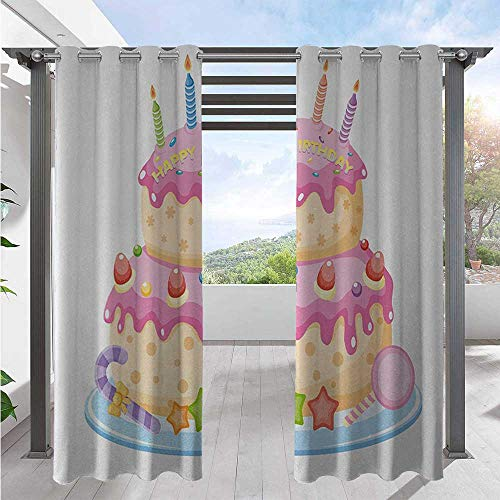 Adorise Outdoor Curtain Drapes Pastel Colored Birthday Party Cake with Candles and Candies Celebration Image Waterproof Patio Door Panel for Deck/Porch/Pergola/Balcony Light Pink W120 x L108 Inch