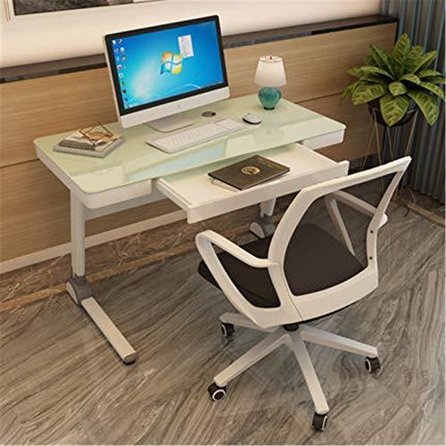Dfghbn Juego de mesa de ordenador y silla de escritorio, escritorio para el hogar, mesa simple y moderna, escritorio de cristal templado (color blanco, tamaño: 120 cm)
