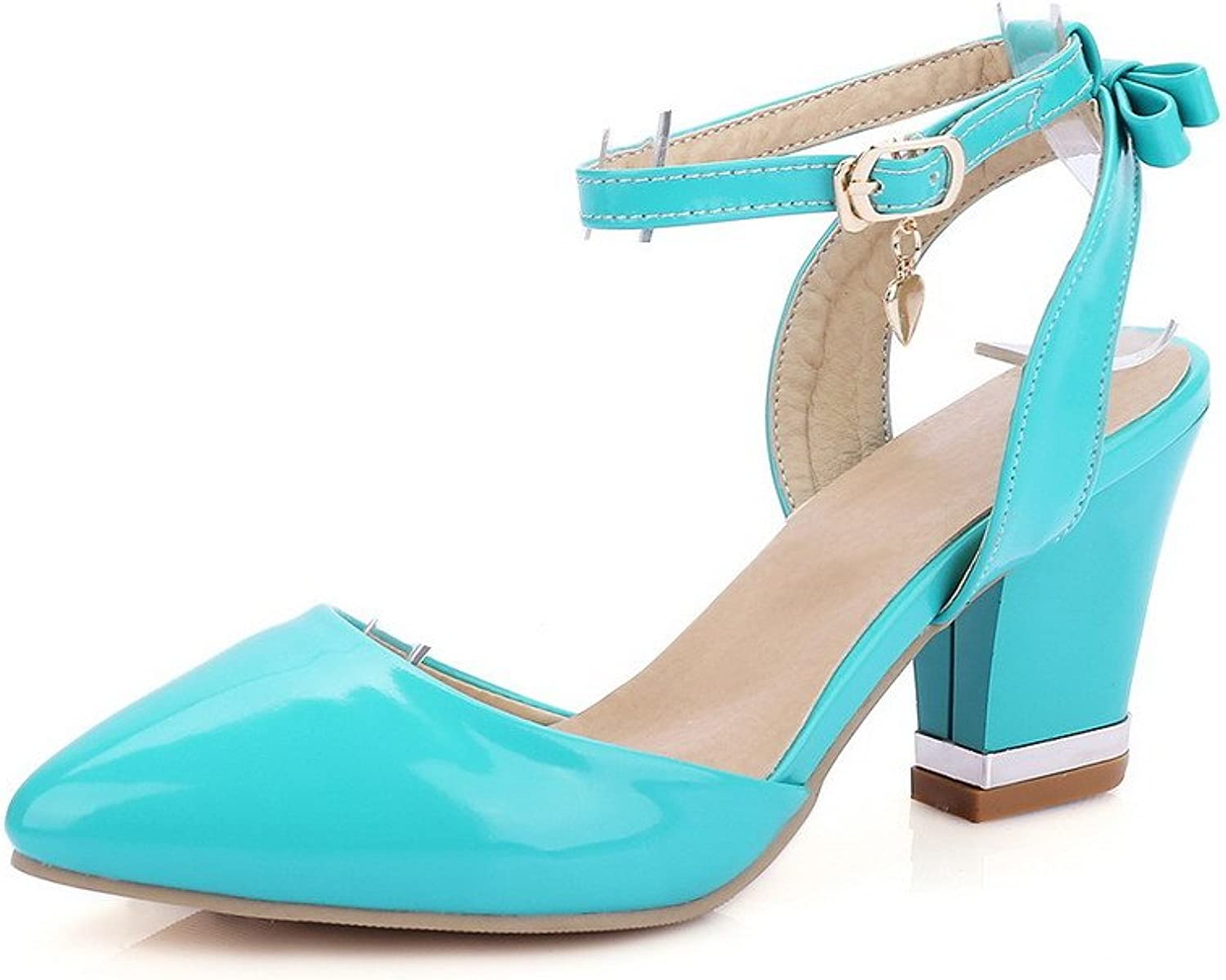 WeenFashion Women's Solid Patent Leather High Heels Closed Toe Buckle Sandals