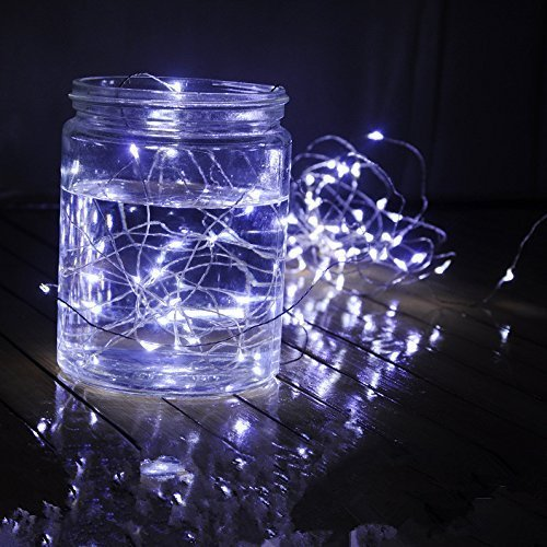 Timewanderer Cool White Led String Starry Fairy Light AA Battery Operated 3M/10Ft 30 Bright Micro LED Lights Ultra Thin Decorative Lights Silver Wire