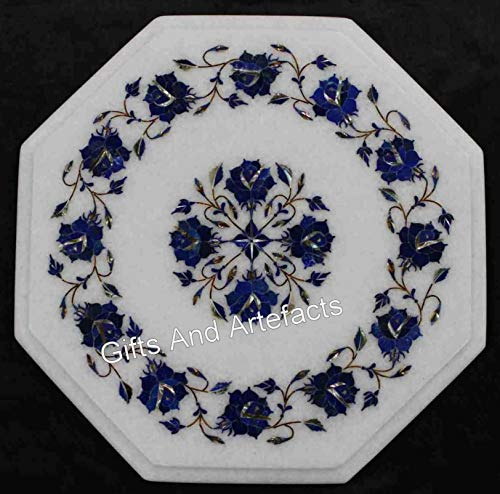 13 x 13 pulgadas hermosa mesa de café con piedra lapislázuli Pietra Dura Art mesa para decoración