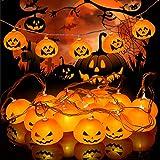 Idefair Luci della stringa della zucca della decorazione di Halloween, luci della stringa all'aperto di Halloween di 10ft 20LED impermeabili