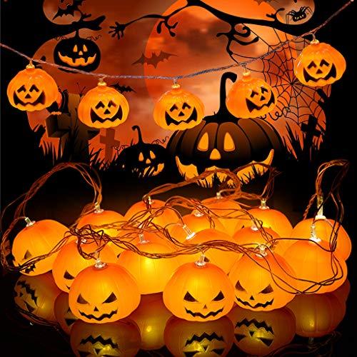 Idefair Luces de la secuencia de la calabaza de la decoración de Halloween, luces de secuencia al aire libre impermeables de 10ft 20LED Halloween