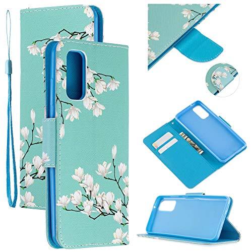 Nadoli Leder Hülle für Samsung Galaxy S20,Gardenie Pu Leder Buchstil Magnetverschluss Trageschlaufe Klapphülle Brieftasche Schutzhülle mit Standfunktion
