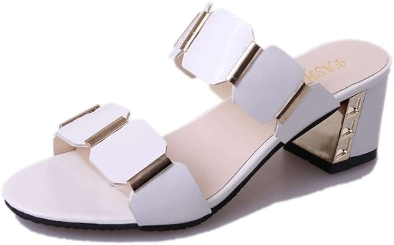 T-JULY Women Summer Beach Slide Sandals Girls Toe Open Middle Heels Non Skid Slipper