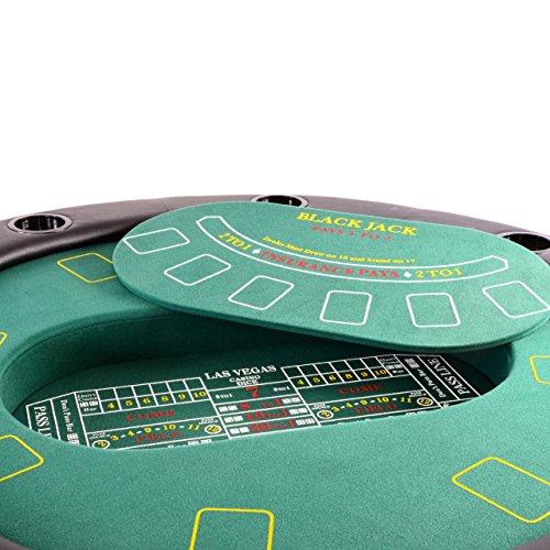 Nexos Profi Casino Pokertisch klappbar Rund Ø 120 cm; 4 in 1 Spiele: Poker, Roulette, Black Jack, Craps inkl. Karten, 100 Chips und Zubehör - 3