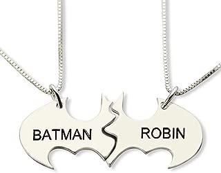 Couple Necklace Custom Name Necklaces Gold Jewelry Pair Batman Chain Superhero Pendant Best Friend BBF Collares Joyeria
