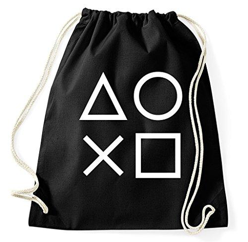 Styletex23 Gaming Buttons Gamer Turnbeutel Sportbeutel, schwarz