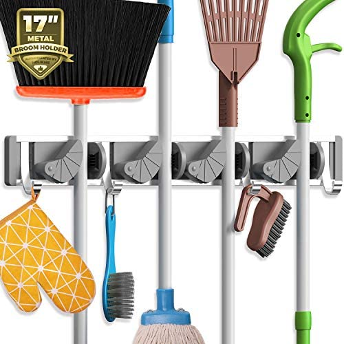 Holikme Mop Broom Holder Wall Mount Metal Pantry Organization and Storage Garden Kitchen Tool Organizer Wall Hanger for Home Goods (4 Positions with 4 Hooks, Black)