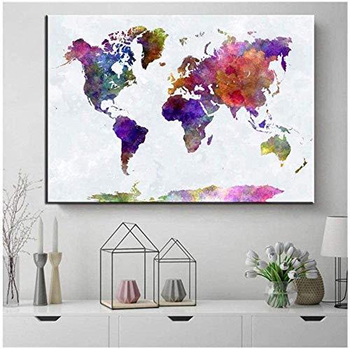 AS65ST12 Arte Keldog Poster impresiones enmarcadas Mundial Mapa acuarela Vintage Art Pared...