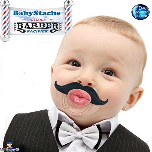 Funny Baby Pacifier Cute Kissable Mustache Pacifier For Babies and Toddlers Unisex - BPA Free Latex Free made With Silicone - Barber Black - By BabyStache