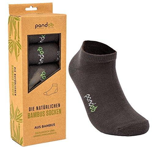 pandoo GmbH Bambus Sneaker Socken - 6er Pack Größe Größe 35-38, Farbe Grau