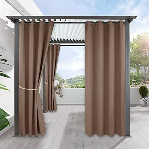 JMBF Cortinas de Patio Impermeable Al Aire Libre, Panel de Textura de Cortina de Patio Impermeable de 2 Piezas para La Vida Al Aire Libre, Ojal Plateado a Prueba de Herrumbre,Brown-52x63in