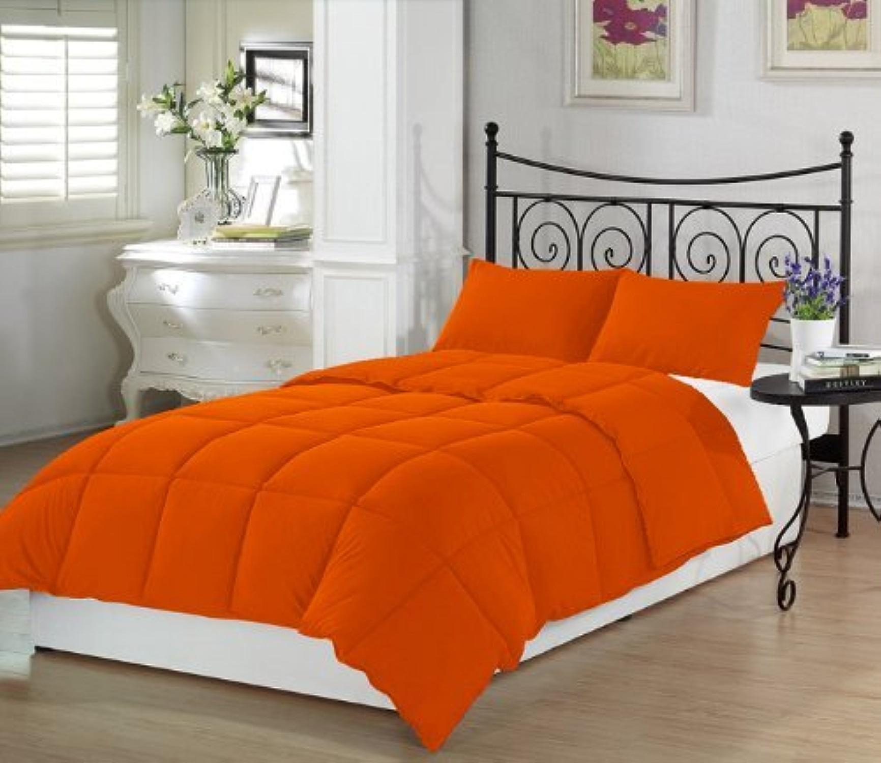 Dreamz Parure de lit Super Doux 100% Coton 300Fils 1Housse de Couette (200g m2 Fibre Fill) Euro très Petite Taille Unique, Orange Solide Coton égypcravaten 300tc Doudou