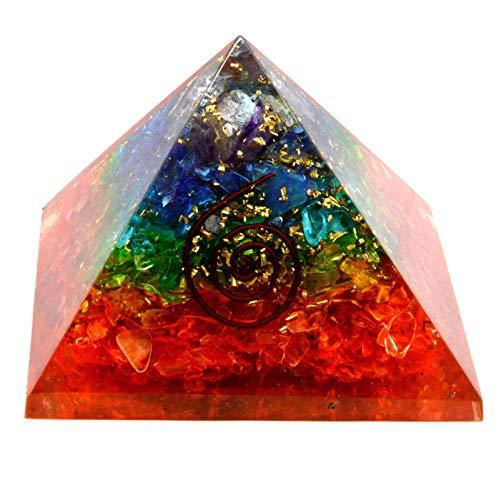 SHIVANSH CREATIONS Emf Protection Orgone Pyramid, Healing Crystals Chakra Stones Reiki Energy Meditation Negative Ion Generator Pyramid for Positive Energy with Quartz and Copper (Chakra, 65-75 MM)