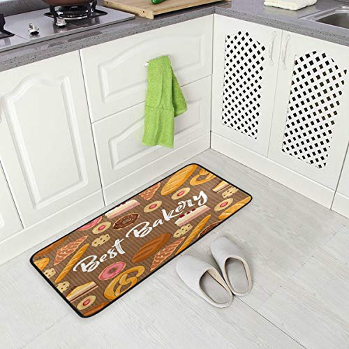MOYYO Kitchen Mat Best Bakery Donuts Cookies Cakes Croissants Kitchen Rug Mat Anti-Fatigue Comfort Floor Mat Non Slip Oil Stain Resistant Easy to Clean Kitchen Rug Bath Rug Carpet for Indoor Outdoor D