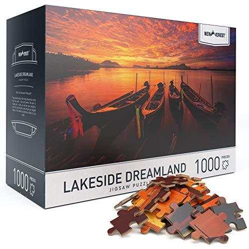 """大人のためのジグソーパズル6歳以上の1000ピース、写真家からのユニークな画像を備えた家族教育の難しいパズル-大きな27.5""""x 19.7""""、ギフトパッケージ収納ボックスを含む-レイクサイドドリームランド"""