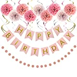 LITAUS Rose and Gold Birthday Decorations, Happy Birthday Decorations for Women -Serves 4- Happy Birthday Banner, Hanging Swirls, Paper Garland and Flowers for Kids Dini Party, Party Decorations