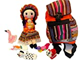 Peruvian Doll, Back Pack and Five Finger Puppets Combo Pack Set Sanyork Fair Trade (TM) Artisan Made Peru