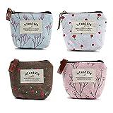 4 pezzi / 2 pezzi da donna mini portamonete con cerniera portafoglio portachiavi portafogli piccola tela floreale portafogli sacchetti trucco comestic bag (4 colori)