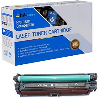 Inksters Compatible Toner Cartridge Replacement for HP 650A (CE270A) Black - Compatible with Color Laserjet Enterprise CP5525 CP5525DN CP5525N CP5525XH