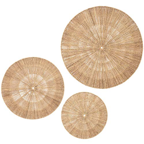 Artera Wicker Wall Decor- Set of 3 Oversized Woven Seagrass Wall Plaques, Unique Wall Art for a Bedroom, Living Room, or Office Space