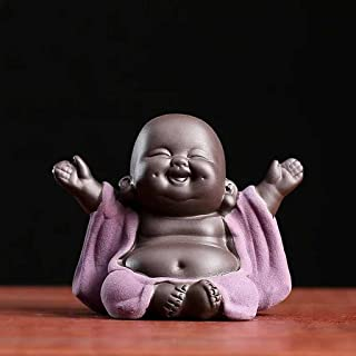 ZLBYB Lucky Purple Clay Maitreya Tea Pet Creative Flower Pot Bonsai Decor Small Ornaments Ceramic Buddha Statue Tea Table ...