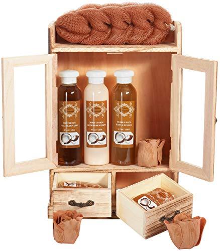 BRUBAKER Cosmetics Bade- und Pflegeset Kokosnuss im Holzschrank