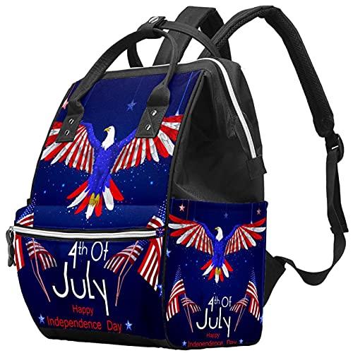WJJSXKA Zaini Borsa per pannolini Laptop Notebook Zaino da viaggio Escursionismo Daypack per donna Uomo - Giorno dell indipendenza americana 4 luglio