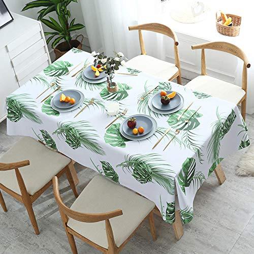 Ahuike Mantel para Mesa de Cocina o Salon Hojas Rectangular PVC Reutilizable para El Hogar Impermeable Lavable Diseno de Comedor decoracion del Hogar Zong Palma 90×90cm