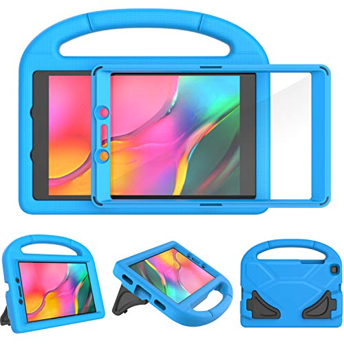 Surom Kids Case with Built-in Screen Protector for Samsung Galaxy Tab A 8.0 2019 SM-T290/T295, Shockproof Light Weight Handle Stand Galaxy Tab A 8.0 Inch 2019 Kids Case Without S Pen - Blue
