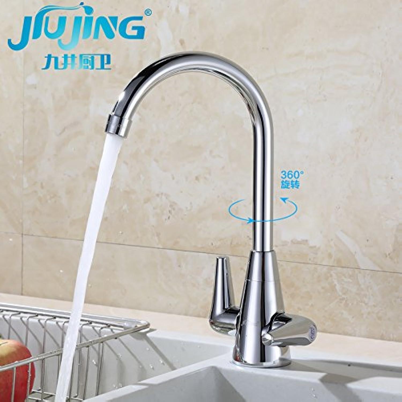 Küche oder Badezimmer Waschbecken Mischbatterie  Double-Double  - Open Water tippen Sie auf einzelne Bohrung warme und kalte Speisen im gesamten Kupfer Waschbecken Waschbecken Armaturen Wasser Jj 15000 gedreht werden kann