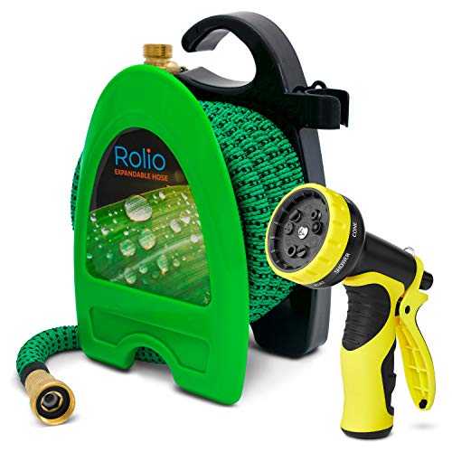 "Rolio Expandable Garden Hose with Hose Reel - 50 FT Garden Hose with 9 Function Spray Nozzle Included, 3/4"" Solid Brass Fittings, No Kinks"