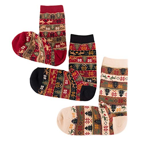 Kemelo 3 Pares de Calcetines étnicos navideños para Mujer, calcetería con Estampado de Rayas de Copo de Nieve de Alce, Calcetines Deportivos, Colores Mezclados