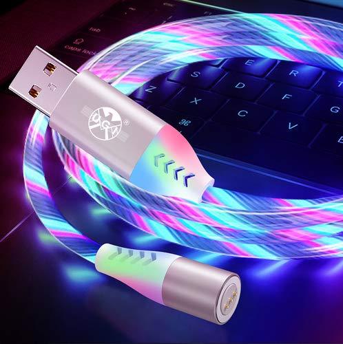 LED Fließendes magnetisches Ladekabel 2M, 3A Schnelllade- und Datensynchronisationskabel3 aus 1 Nylon, geflochten mit LED-Licht, kompatibel mit Micro-USB Typ C und i-Produkt (weiß)