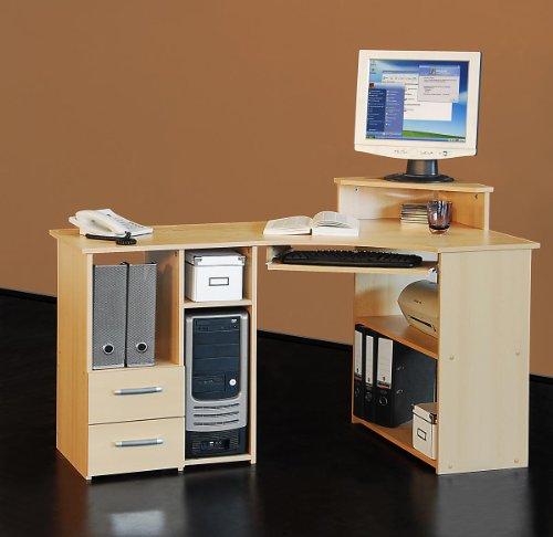 Möbeldesign Team 2000 Eckschreibtisch PC Tisch Computertisch buche 4505-1